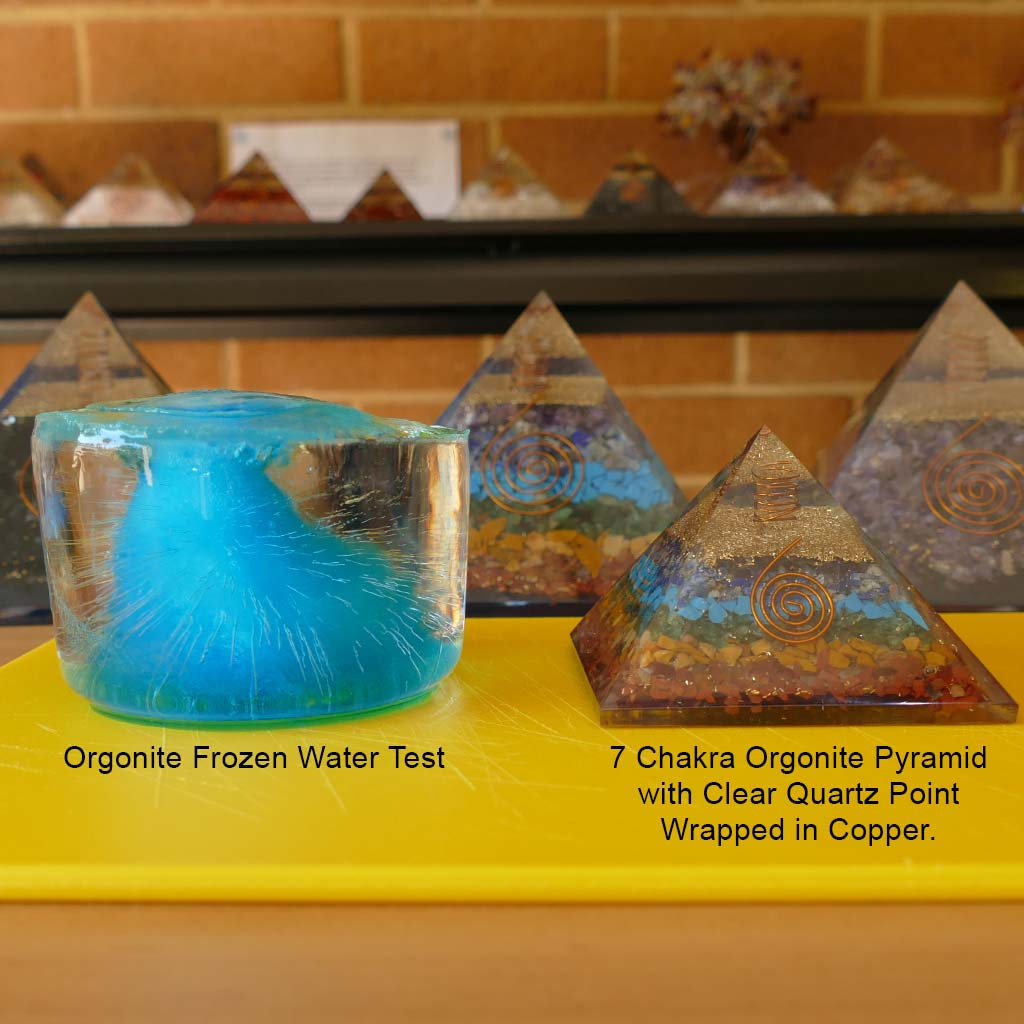 orgone experiment with orgonite pyramid frozen water