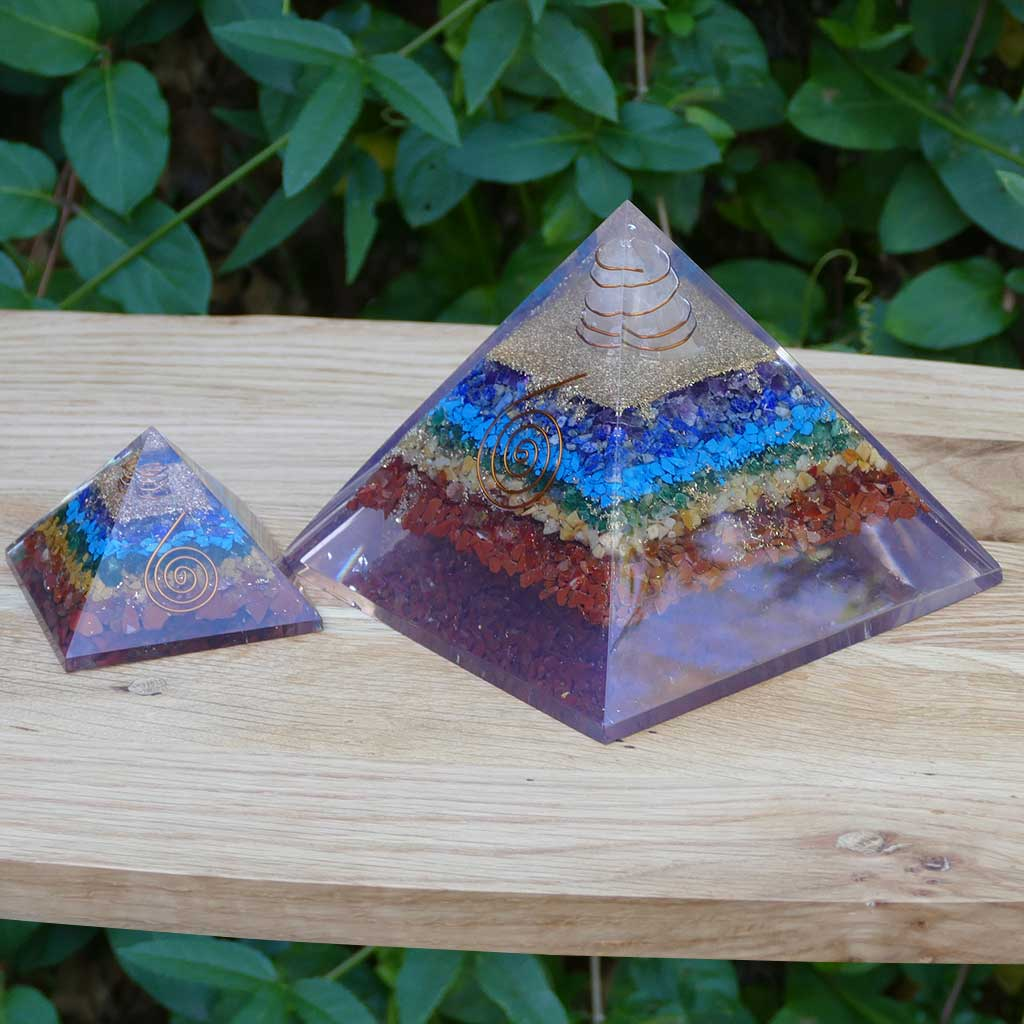 large orgonite pyramids 7 chakra colour