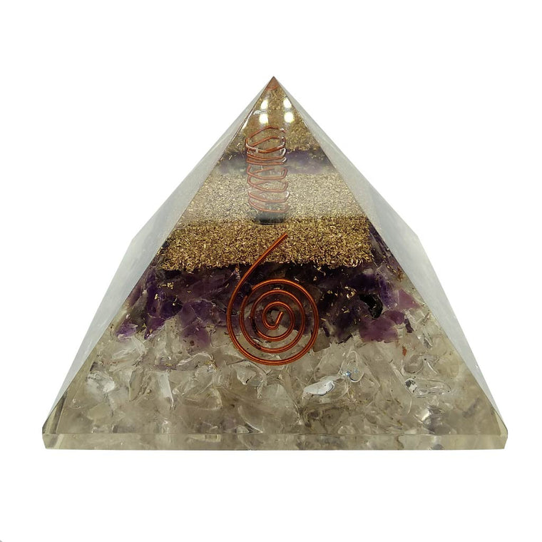 Orgonite Pyramid with Amethyst & Quartz