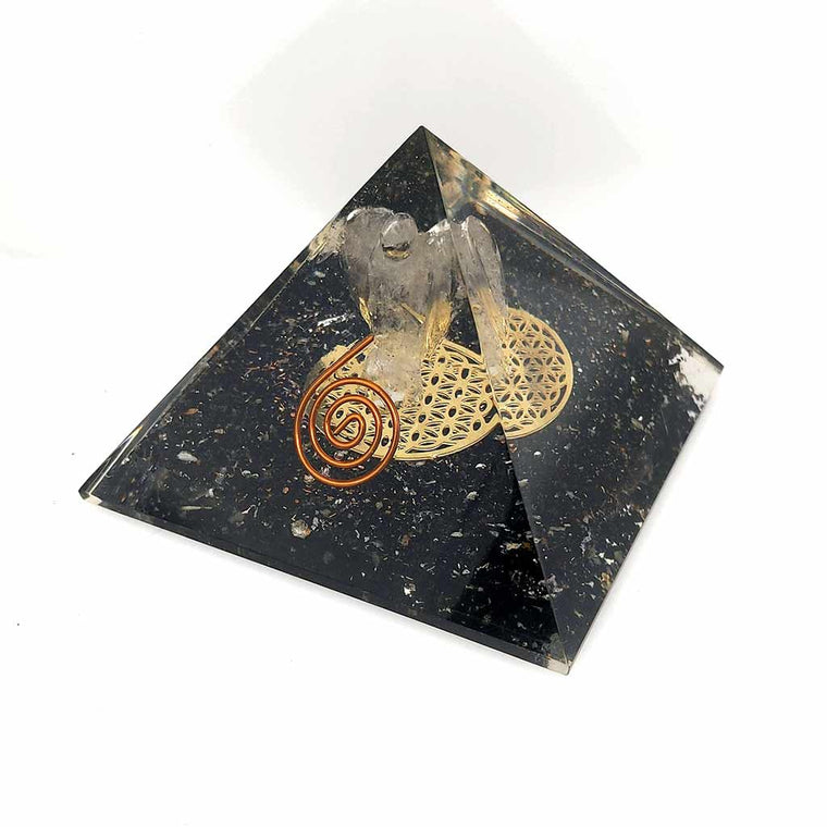 orgonite pyramid black tourmaline with quartz angel