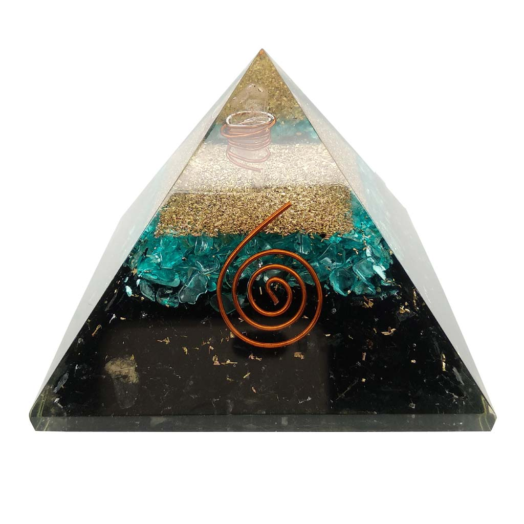 Orgone Pyramid with Black Tourmaline and Apatite