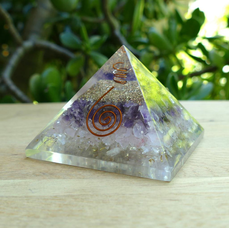 Orgonite Pyramid with Rose Quartz, Quartz & Amethyst