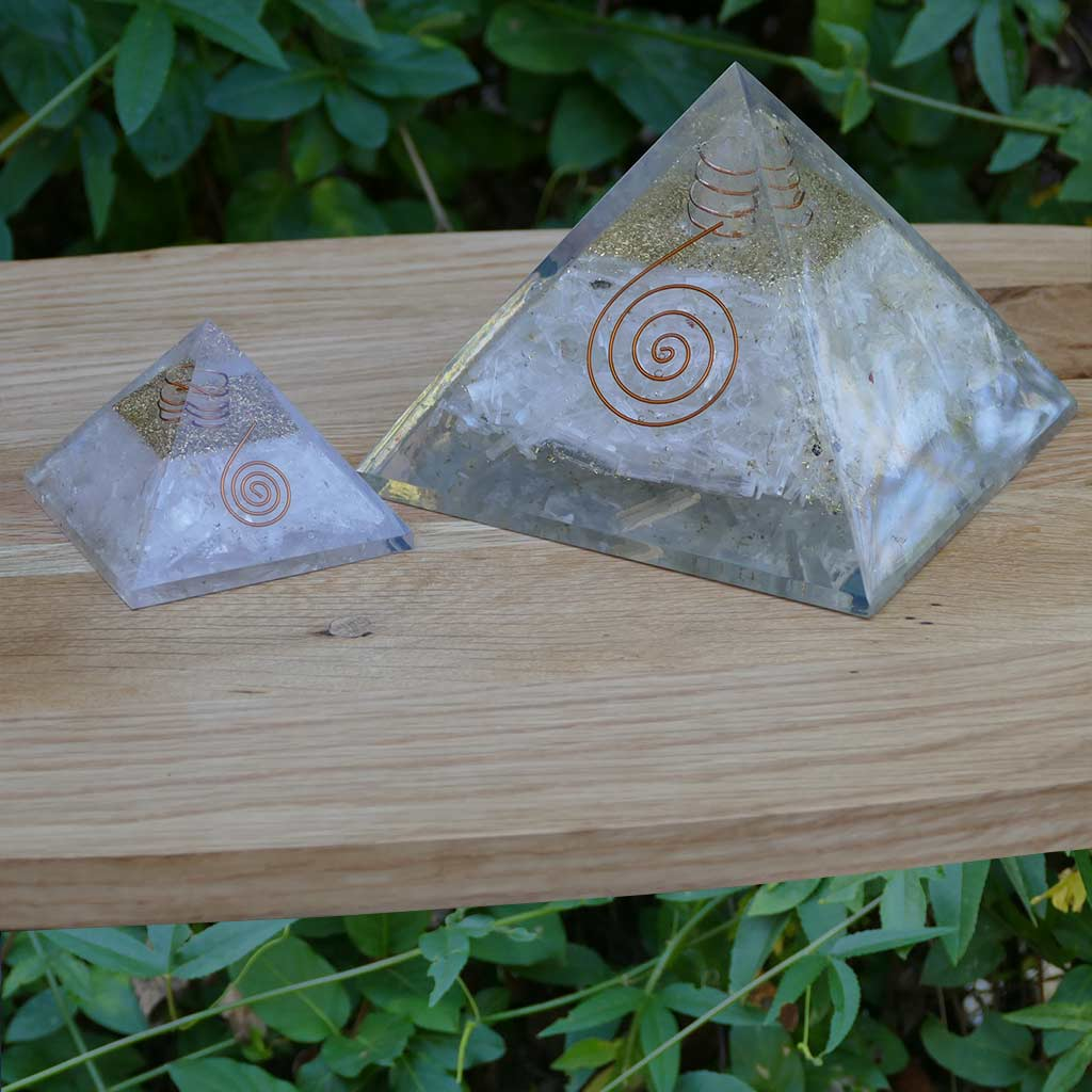 large orgonite pyramid selenite