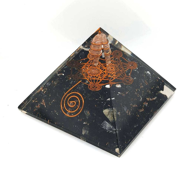 orgonite pyramid black tourmaline metatron cube