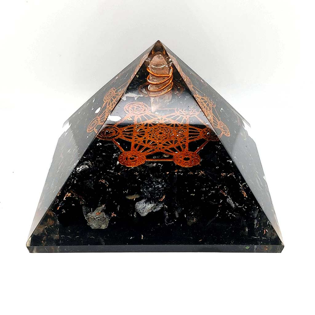 Orgone Pyramid with Black Tourmaline & Metatron's Cube