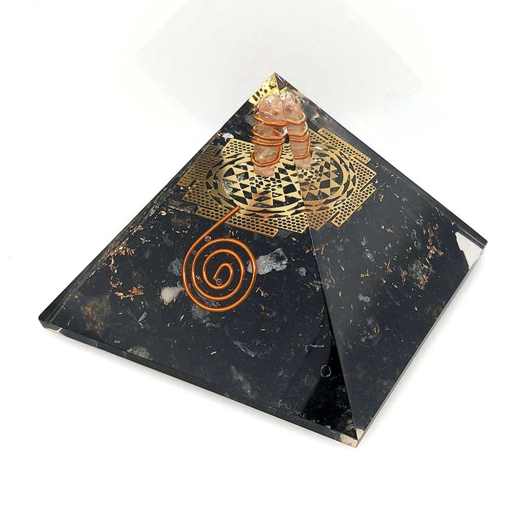 Orgone Pyramid with Black Tourmaline and Shri Yantra Symbol