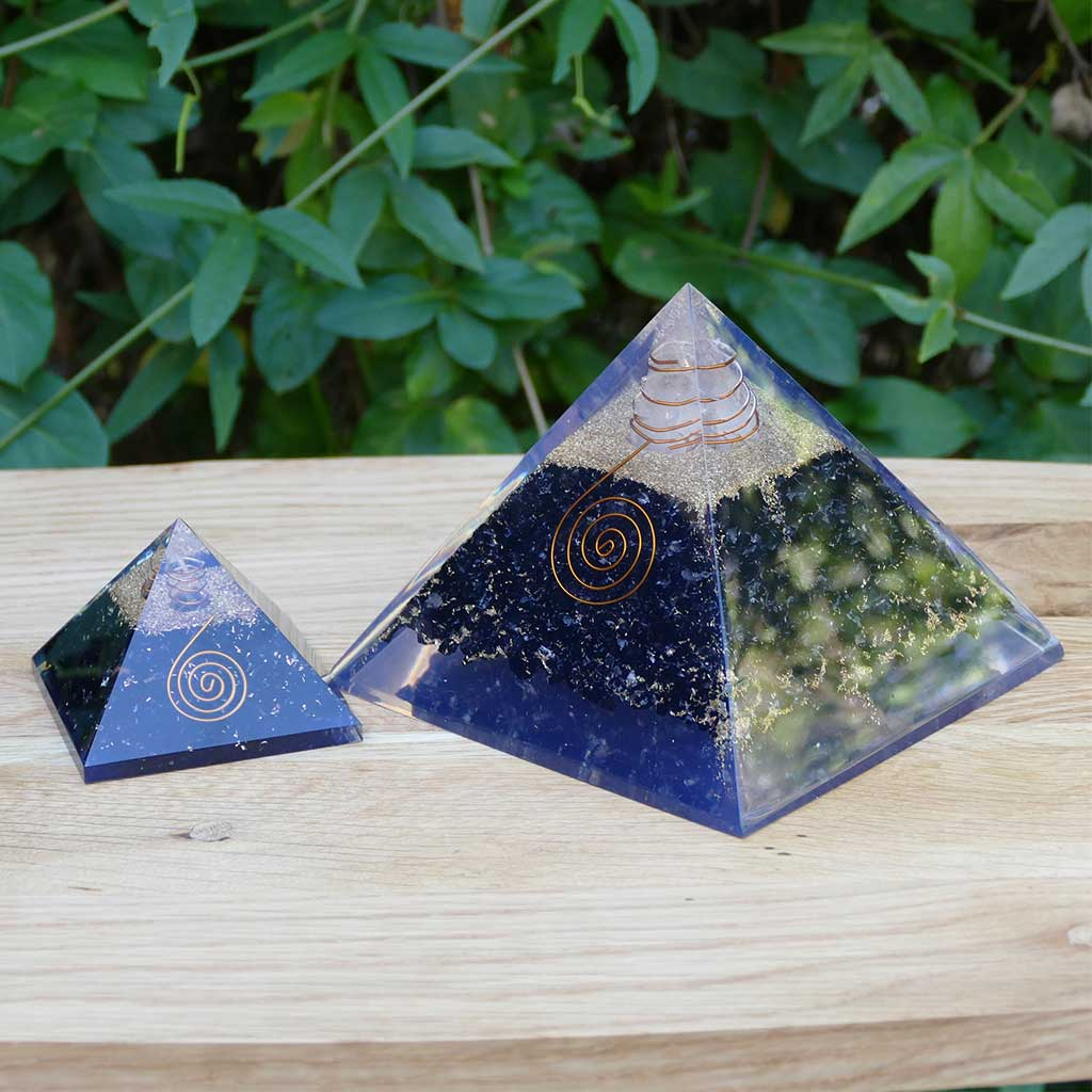 large orgonite pyramid tourmaline black