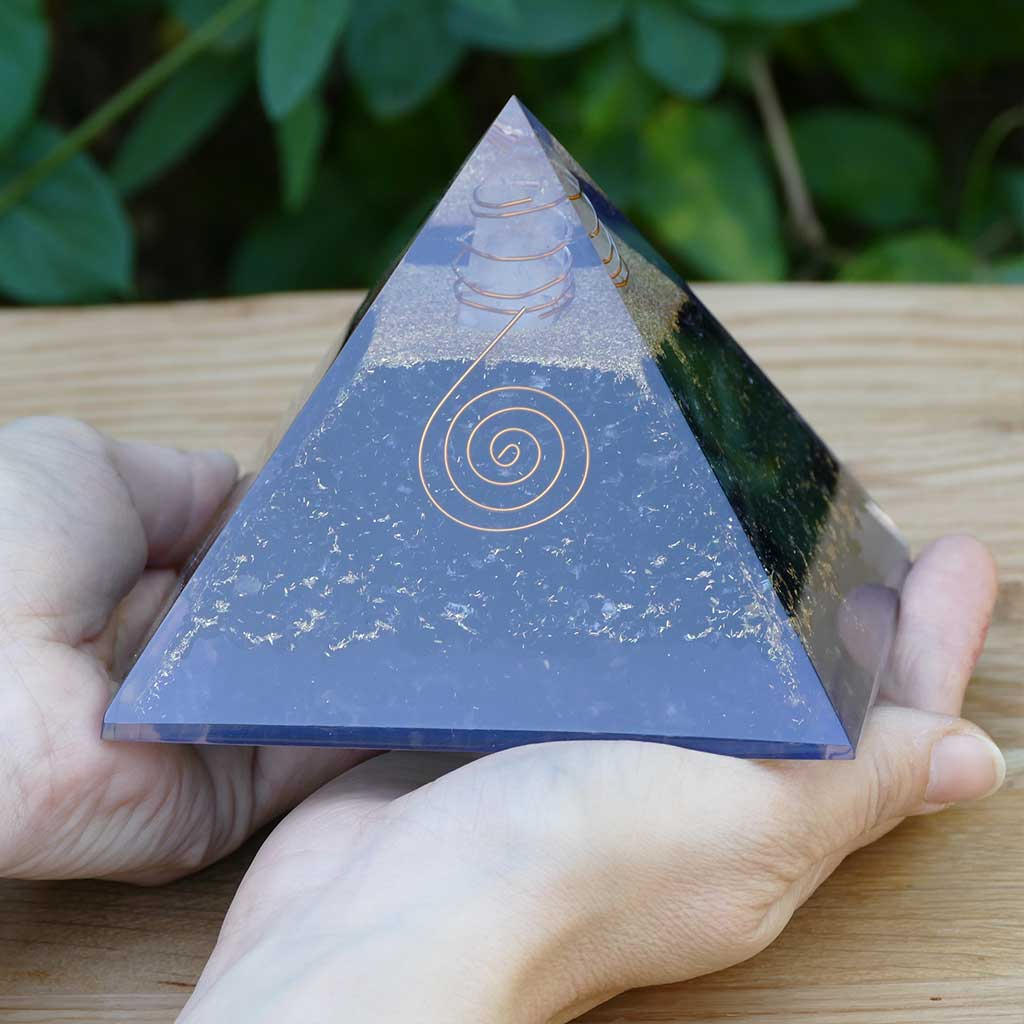 large orgone pyramid black tourmaline