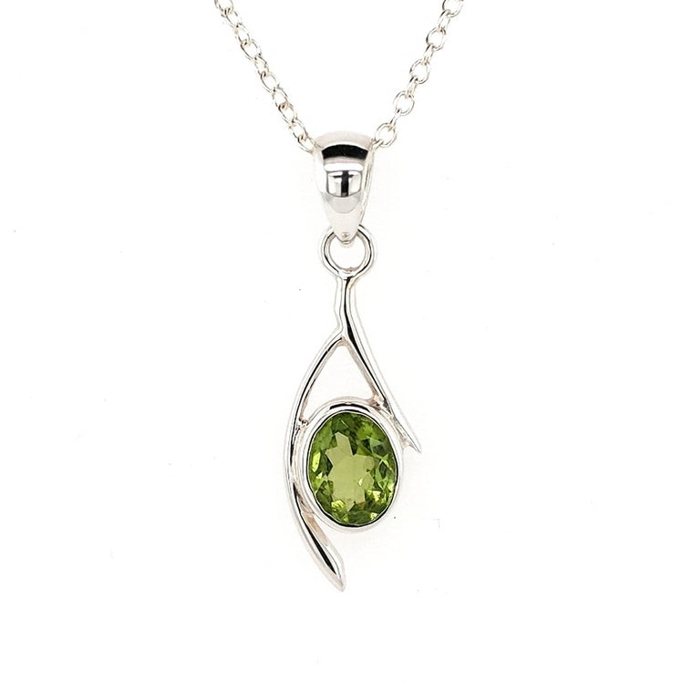Peridot Crystal Pendant in a lovely Silver setting