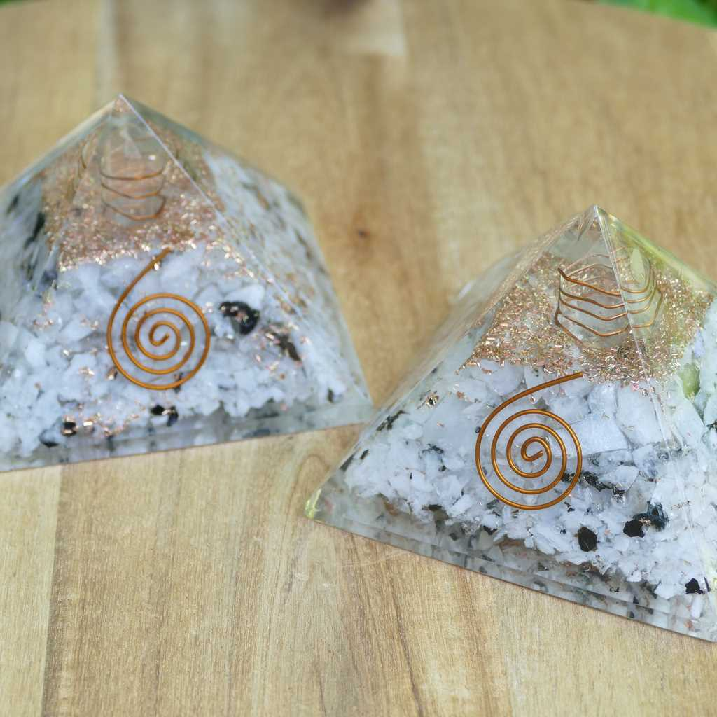 Orgonite Energy Pyramid with Rainbow Moonstone