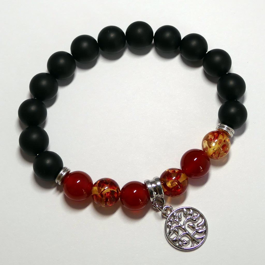 red agate bracelet with charm