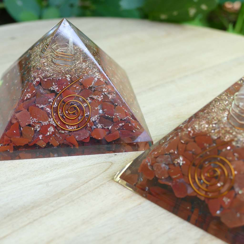 Orgone Pyramid with Red Jasper Crystals