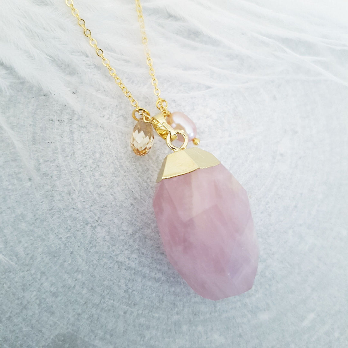 Rose Quartz Nugget Necklace