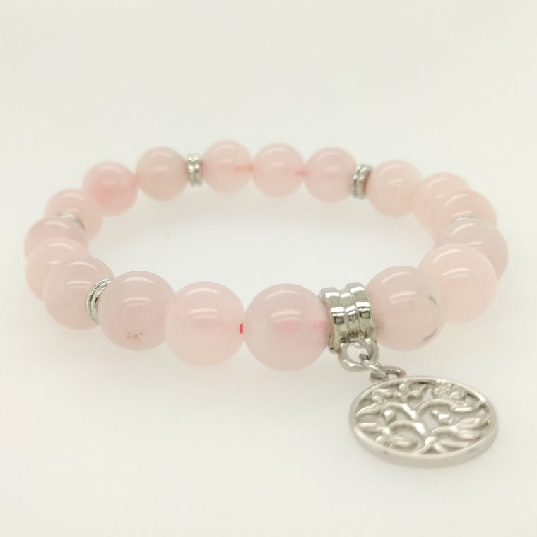 rose quartz bracelet with tree of life charm