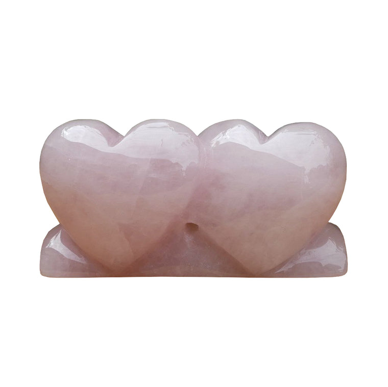 Rose Quartz Double Hearts