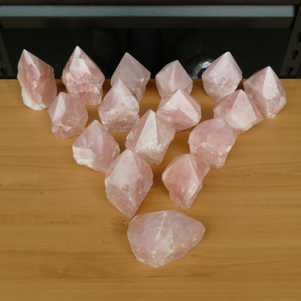 Rose Quartz Semi Polished Point