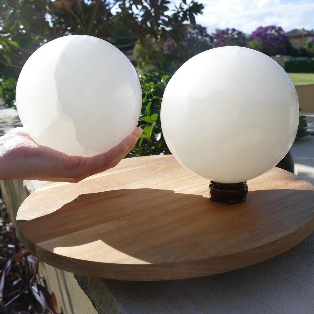 selenite crystal spheres