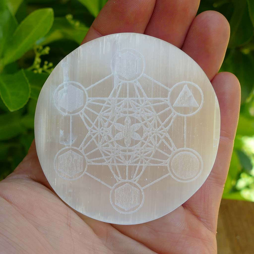 Selenite Round Disc Charging Plate Engraved