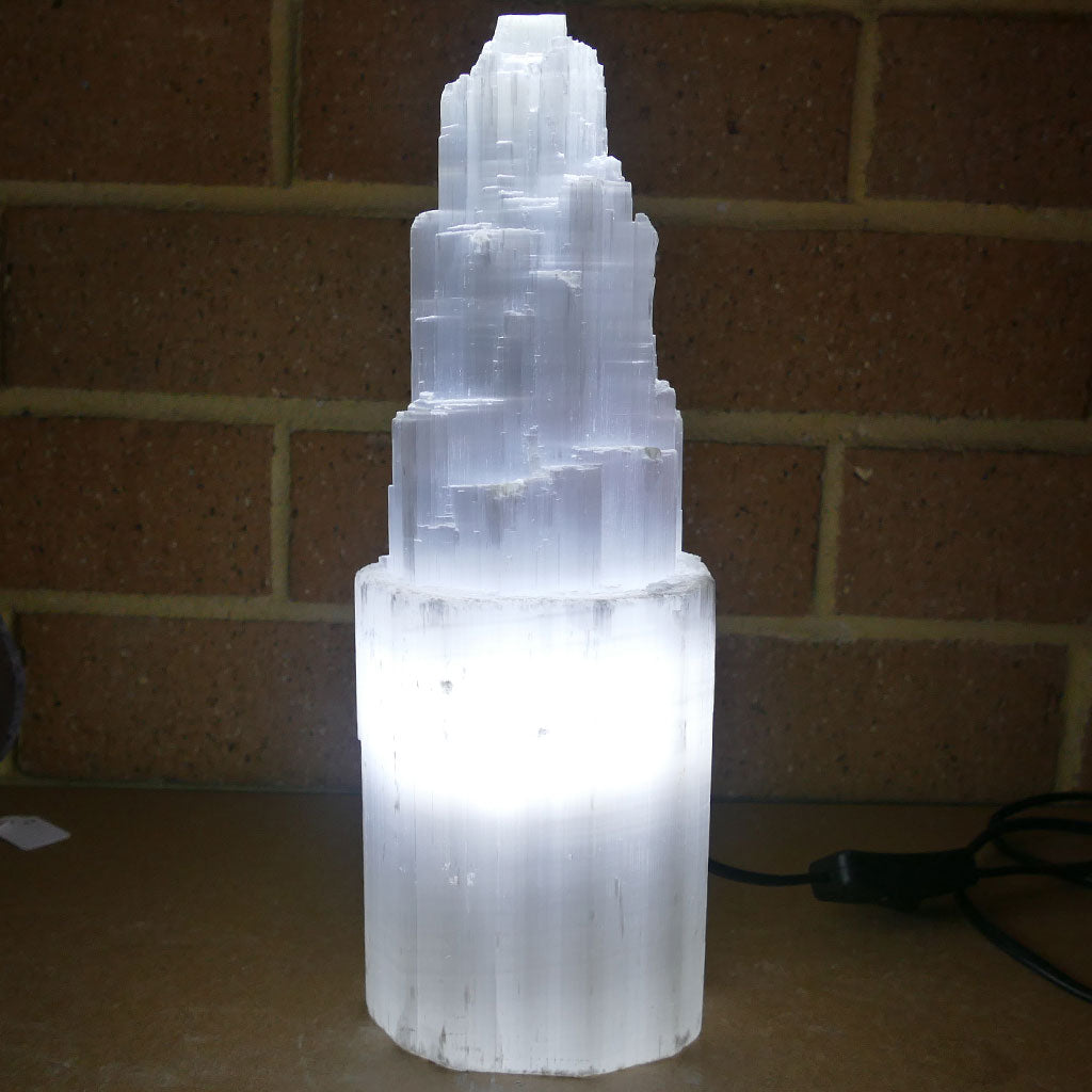 Selenite Tower Lamp for the Bedroom or Living Room 26-32cm