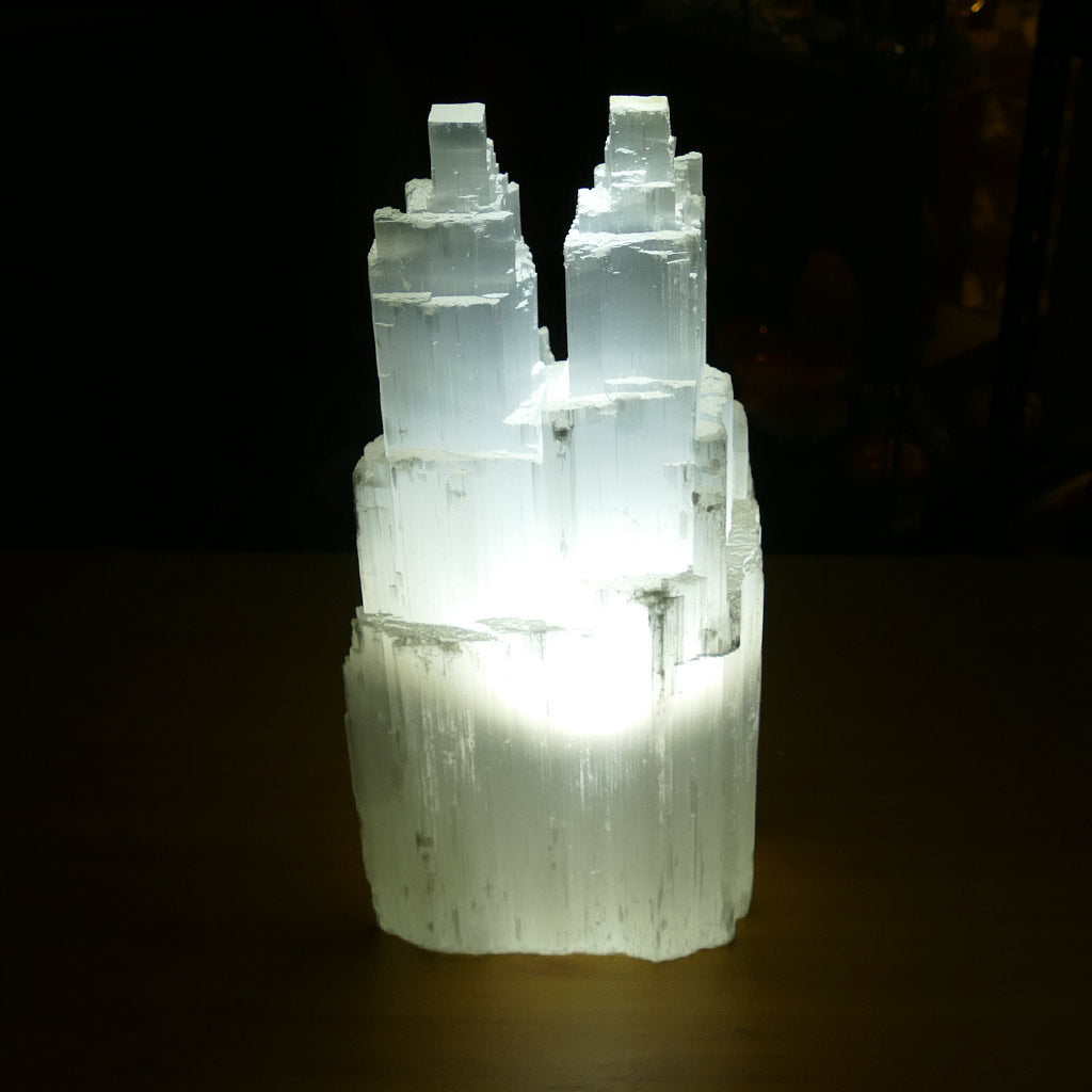 Selenite Twin Tower Lamp