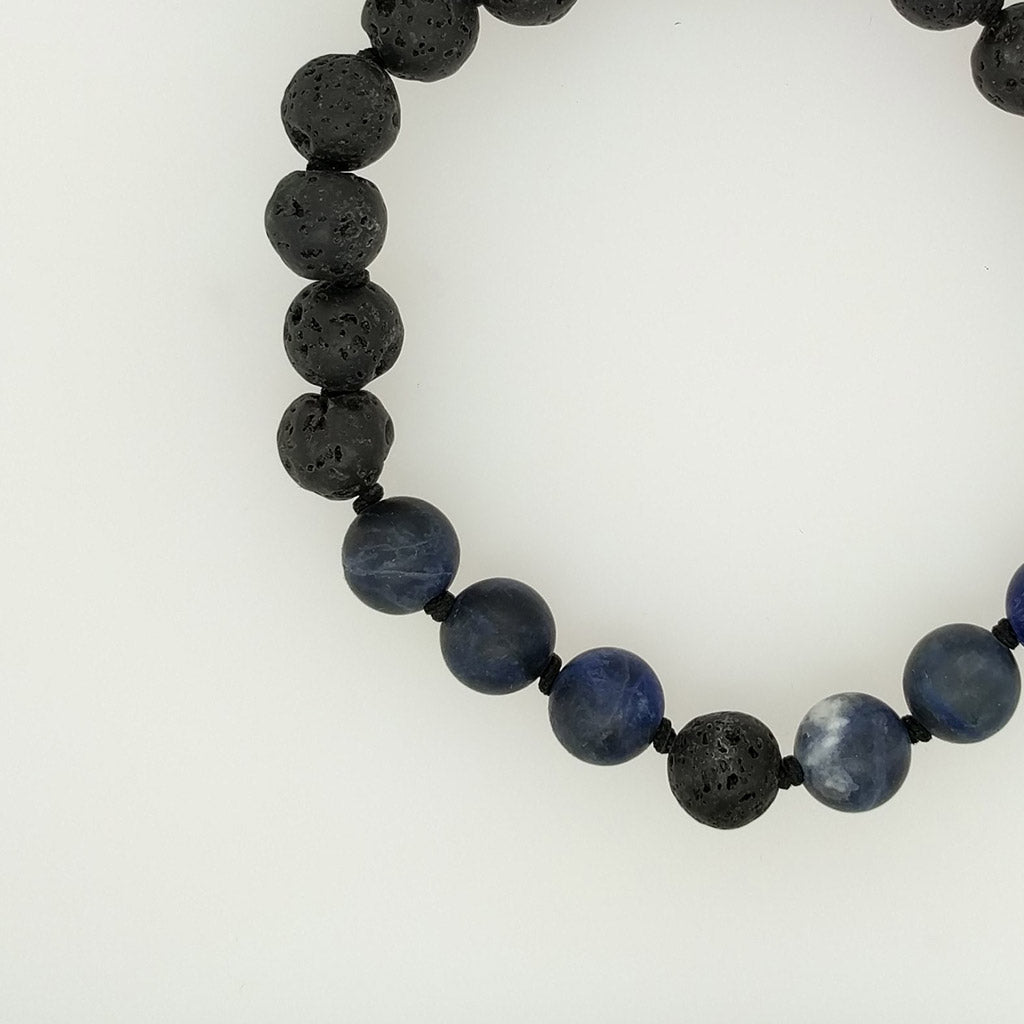 Sodalite Healing Bracelet with lava stone diffuser oil