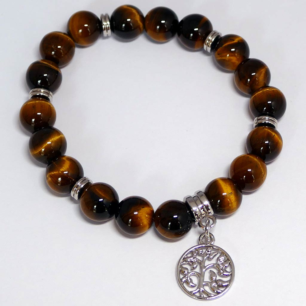 tigers eye bracelet with charm