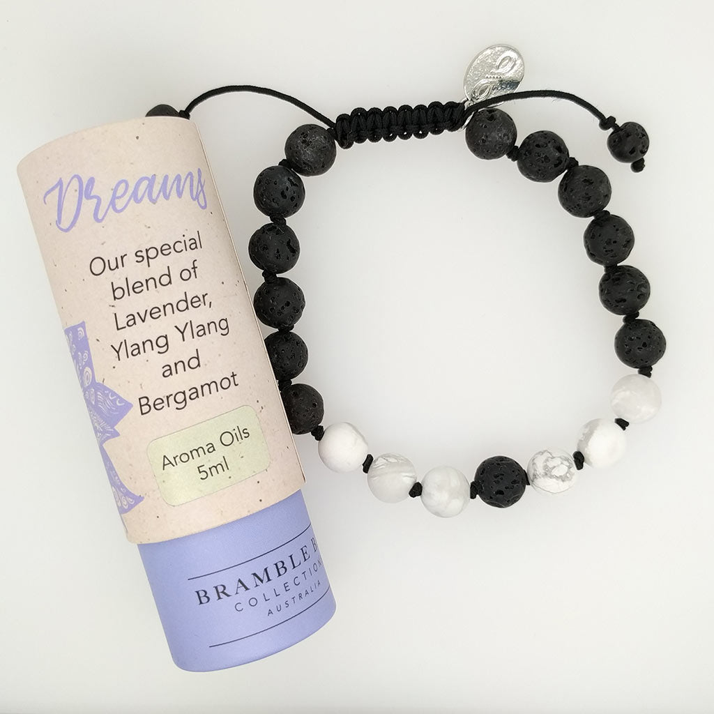 healing bracelet with lava oil aroma