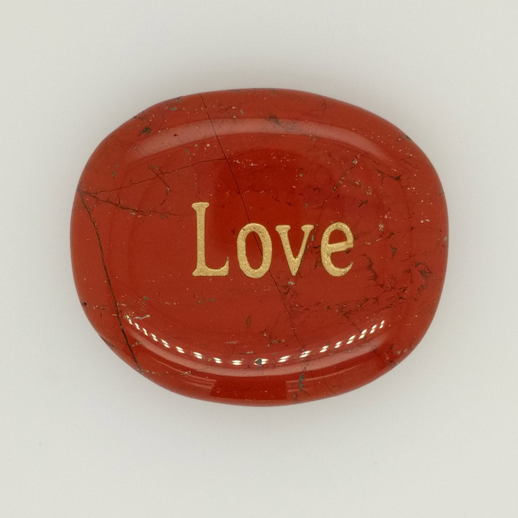word stone red jasper love engraving