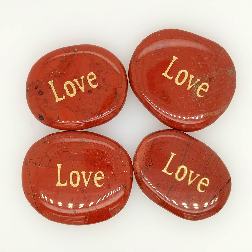 love word stone engraved palm stone