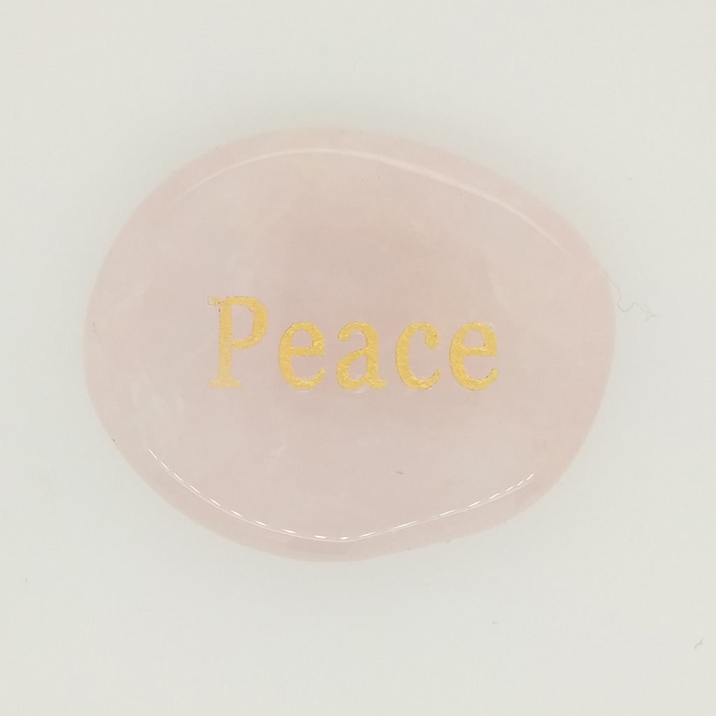 Rose Quartz Palm Stone with Peace Engraving