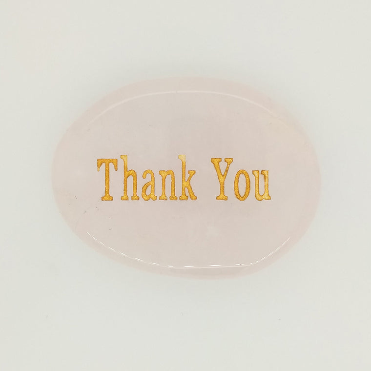 rose quartz word stone thank you