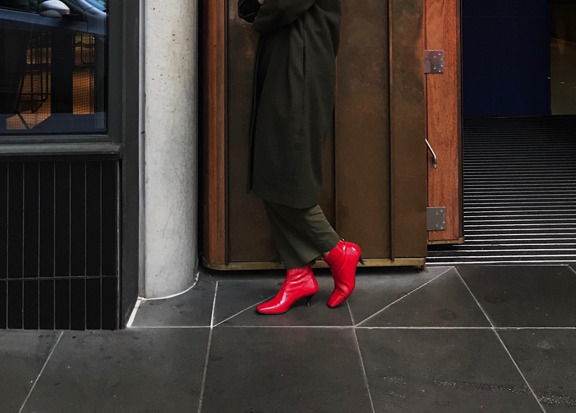Amy Farrell, The Fashion Futurist, wears EOD by ASHLEY LIM Femme boots