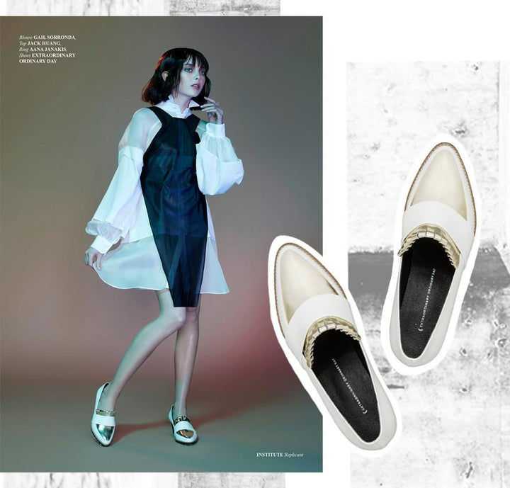 EOD Babylon White Block Heel Pumps in Replicant, Institute Magazine