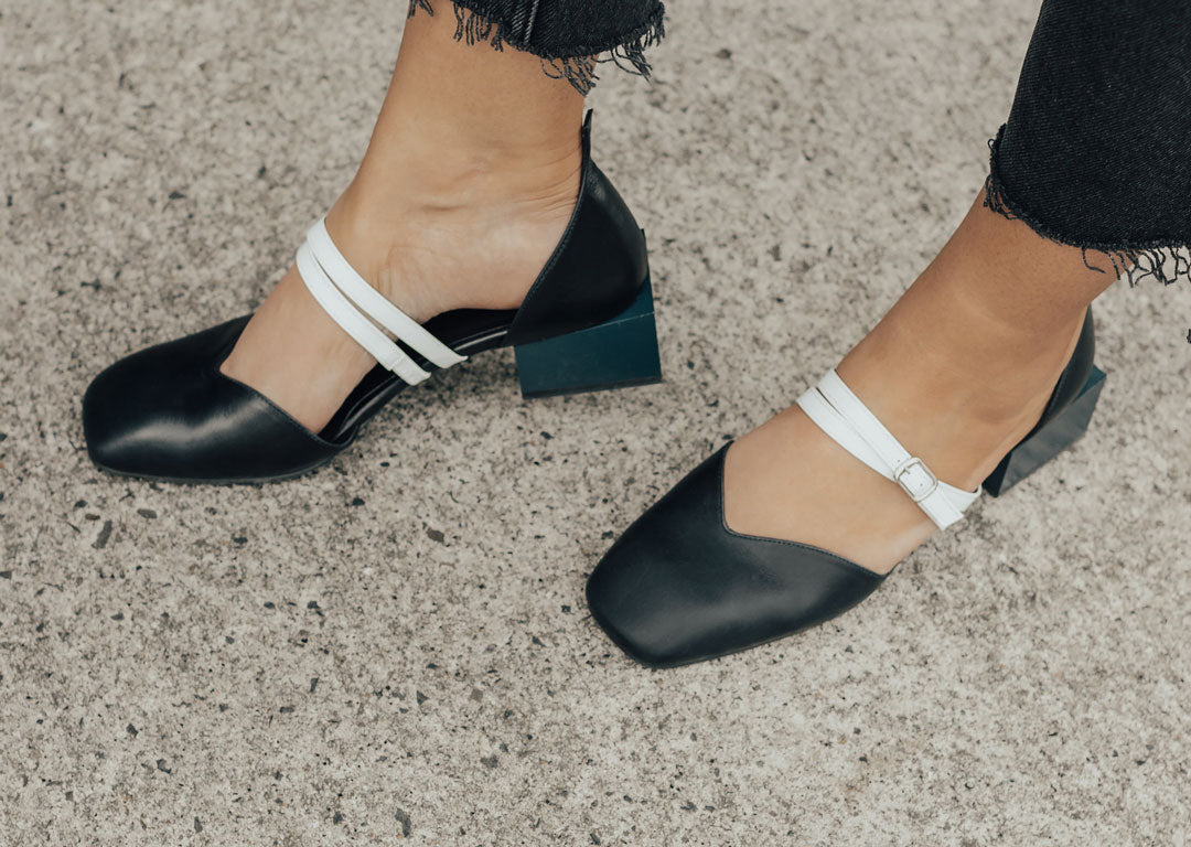 EOD by ASHLEY LIM Bonnie Navy Mary Jane Flats worn by Georgia Maccan (@felixandscott)