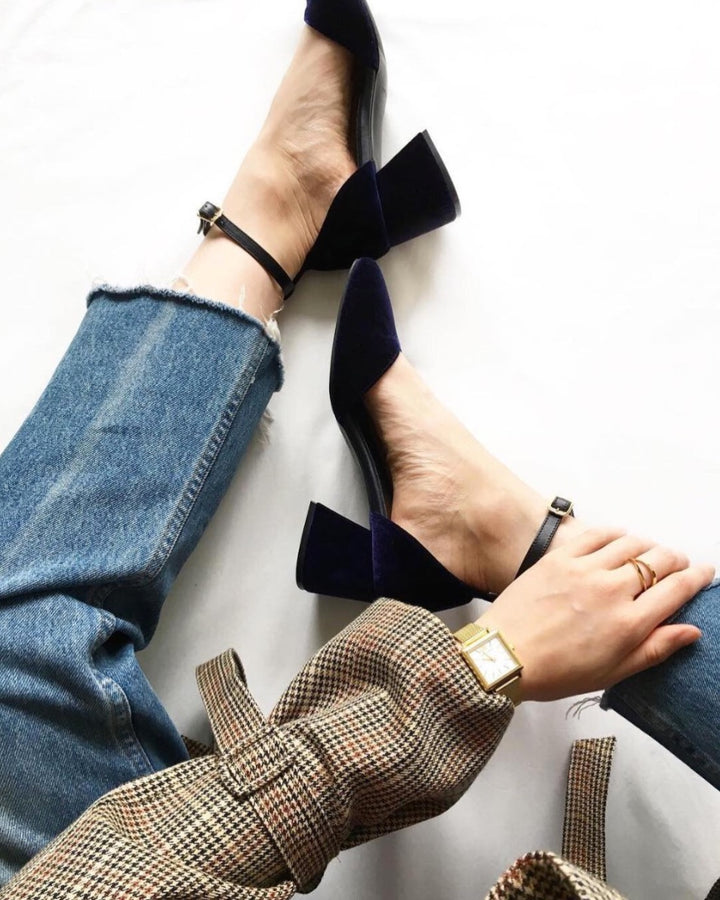 EOD by ASHLEY LIM Scarlett Navy Velvet Mary Janes worn by Marilee Pham