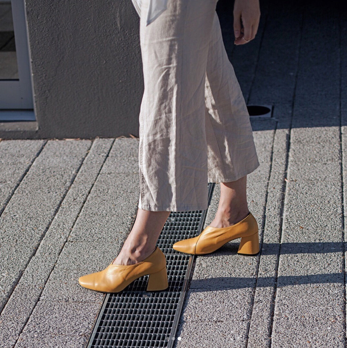 EOD by ASHLEY LIM Tara Yellow Leather Pumps worn by Jenelle Witty (@inspiringwit)