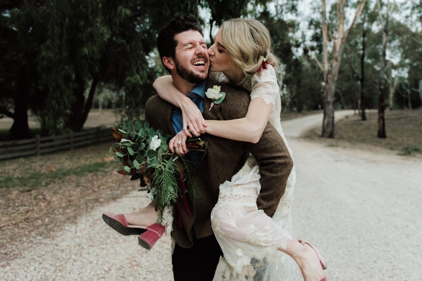 Newlyweds Justin & Emma wearing ASHLEY LIM shoes shot by She takes pictures he makes films