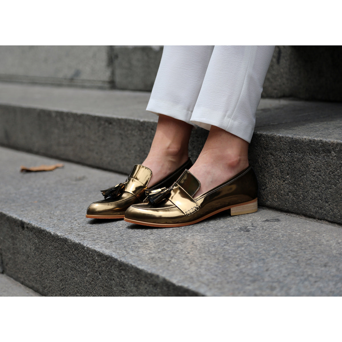 Sarsha Simone wearing EOD by ASHLEY LIM Ecstasy metallic bronze loafers