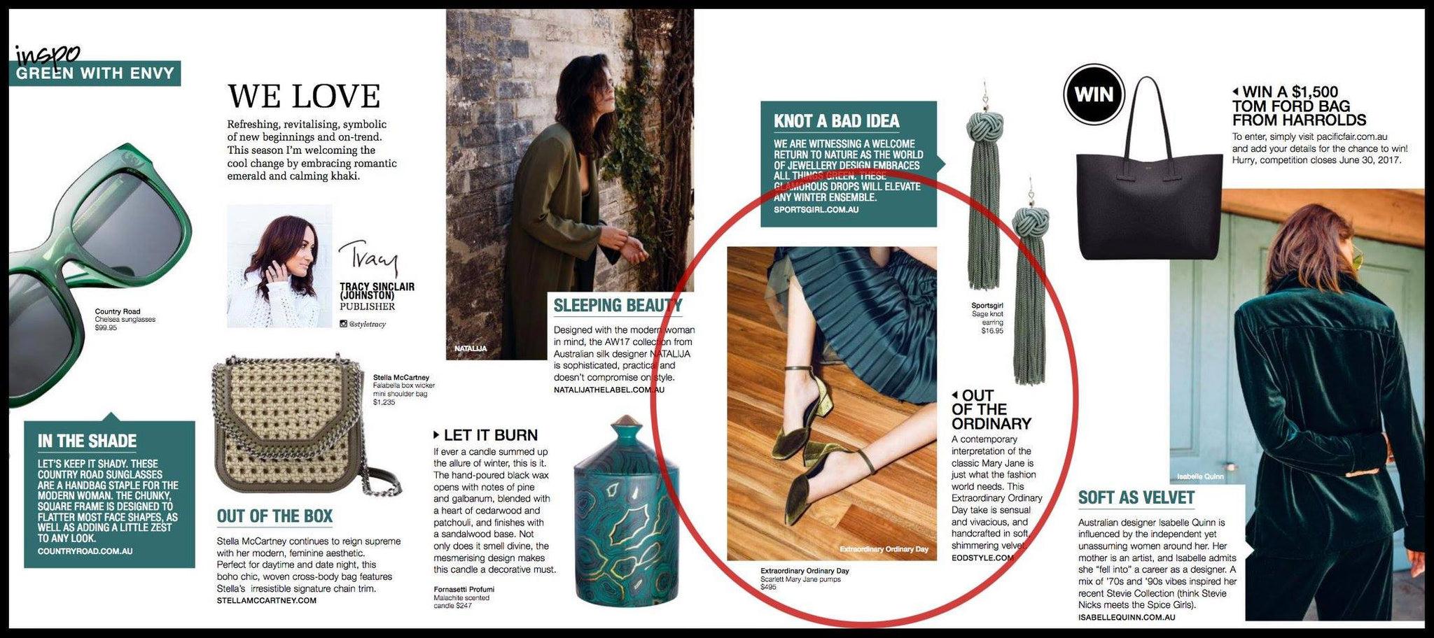 "EOD Scarlett Olive Green Velvet Mary Janes in ""Green with Envy"" for Style Magazine"
