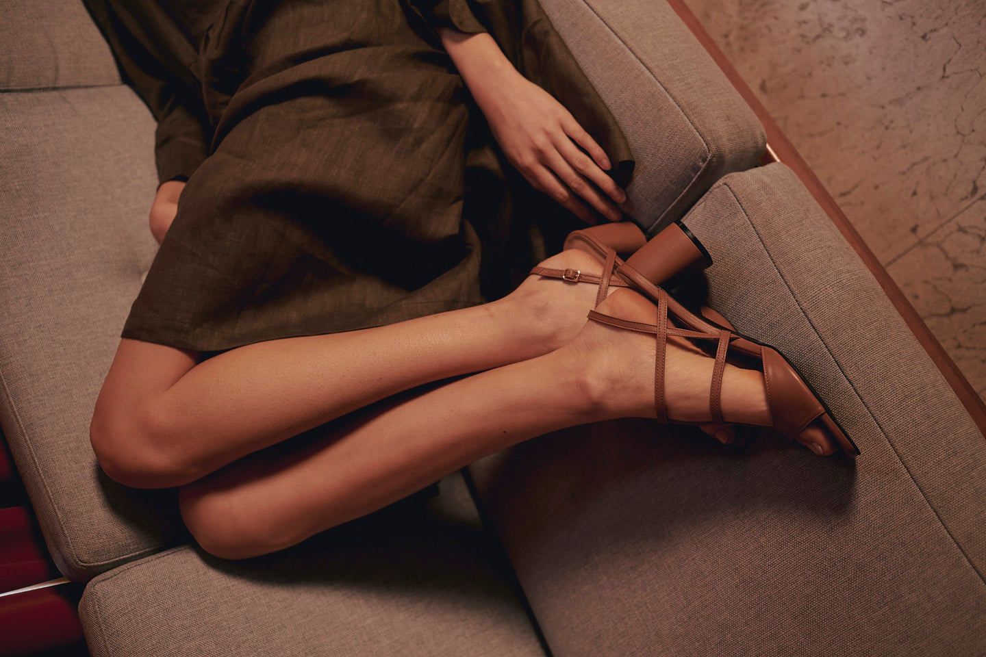 New arrival Alice strappy high heel sandals handmade in tan brown leather - ASHLEY LIM shoes, Intimacy collection