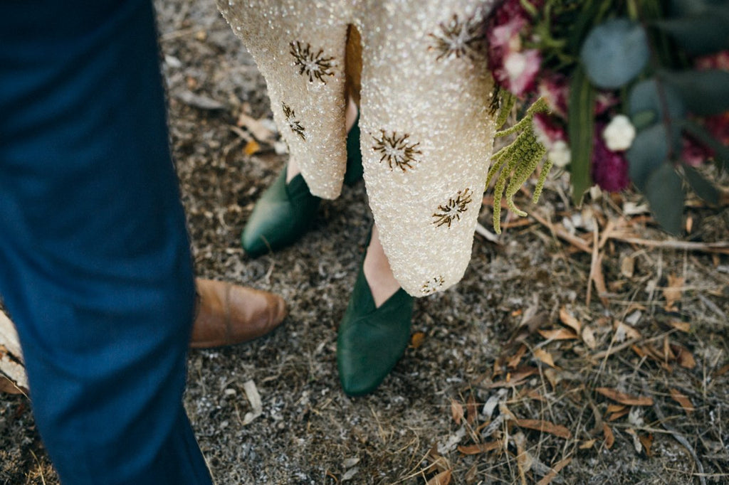 Together Journal, vintage, rustic bush wedding with ASHLEY LIM shoes