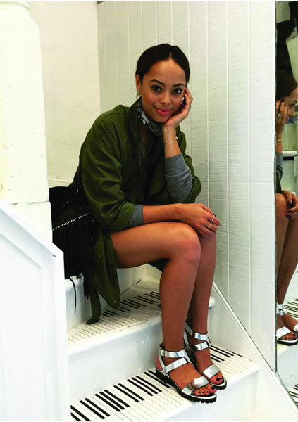 Fashion Blogger Amber Stevens West wearing Comet metallic silver sandals - women's leather designer shoes