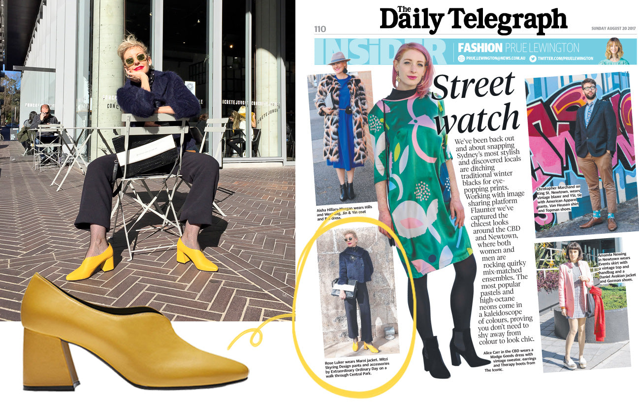 Women's Handmade Designer Shoes - Tara yellow pump heels - The Daily Telegraph