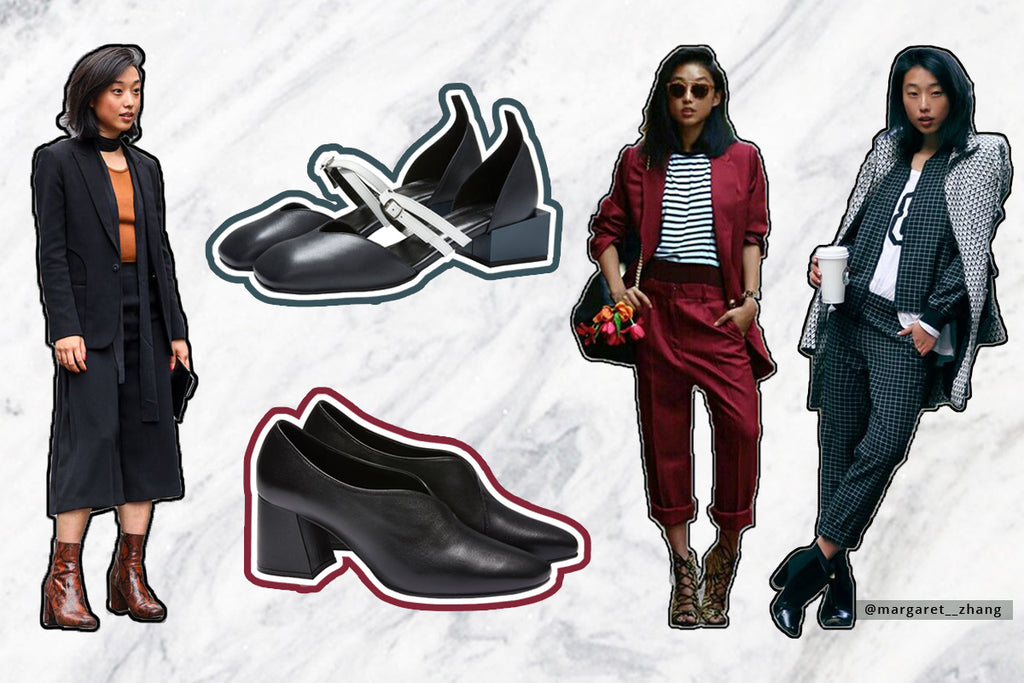 Instagram blogger Margaret Zhang models soft suiting, the latest fashion trend, which can be styled with leather Bonnie flats or Tara pumps