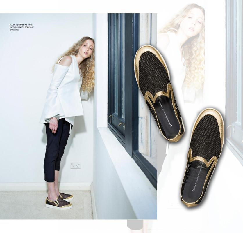 EOD Byzantine Black and Gold Slip-On Sneakers, 1AM Magazine