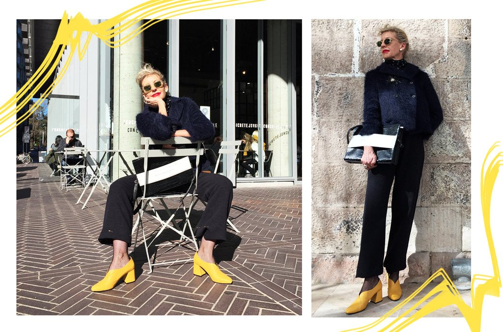 Rose Luker wears EOD by ASHLEY LIM Tara Yellow Leather Pumps