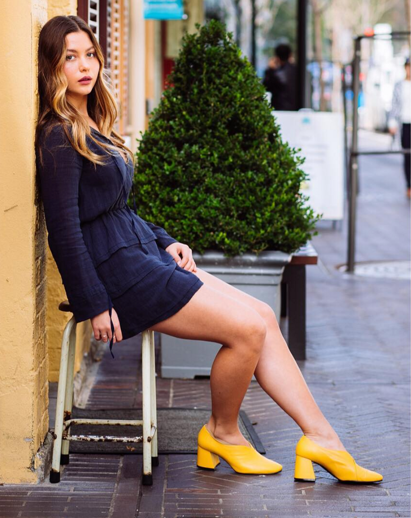 Scarlett Zumbo styles her EOD by ASHLEY LIM Tara Yellow Leather Pumps |