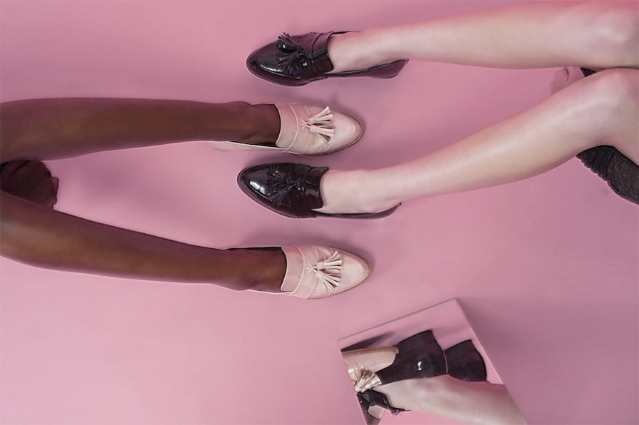 Women's Handmade Leather Footwear - Ecstasy Loafers in Pink and Black Leather