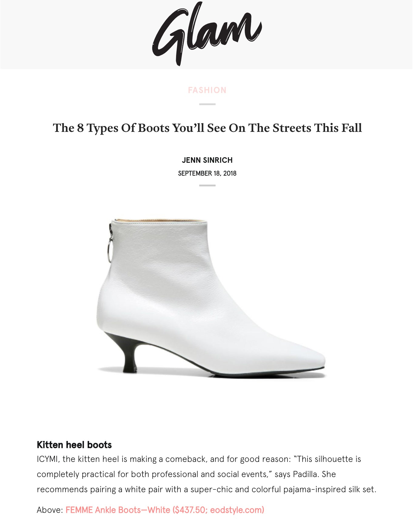 Glam fashion and lifestyle platform featuring ASHLEY LIM Femme kitten heel boots for Fall