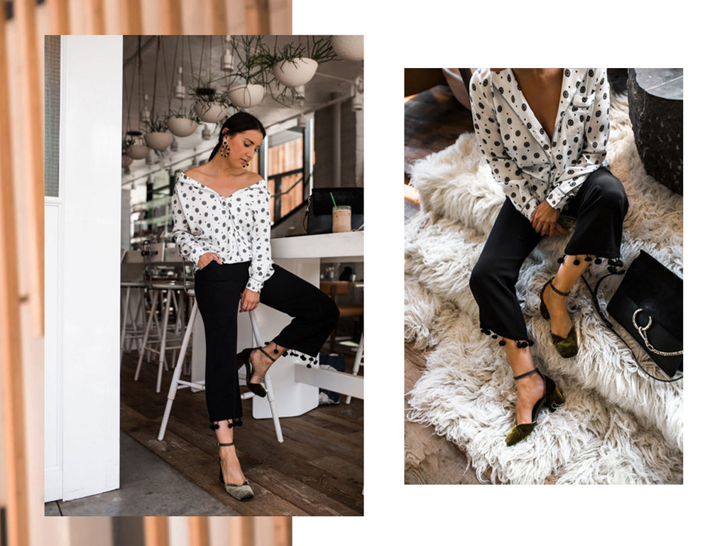 Fashion Blogger Style Structure wearing Scarlett Olive Green Mary Jane Velvet Pumps